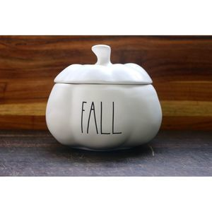"Rae Dunn Pumpkin New White ""Fall"" Small"